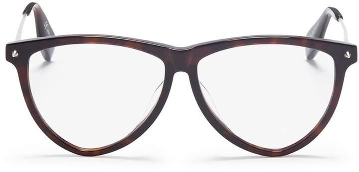 Alexander McQueen Metal temple tortoiseshell acetate round optical glasses