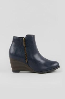 Wallis Navy Wedge Heel Boot