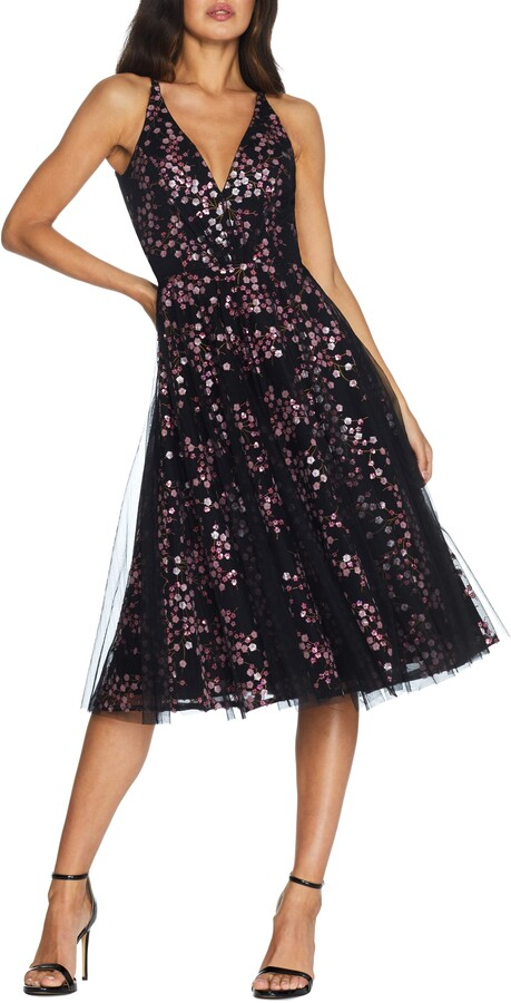 Dress the Population Courtney Sequin Floral Cocktail Dress