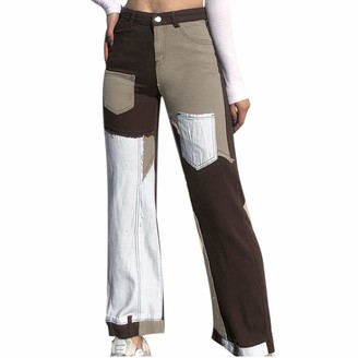 Kilwoe Women High Rise Jeans Patchwork Pants Vintage Color Block Denim Jeans Pencil Trousers Y2K Streetwear Size 8-14 Brown
