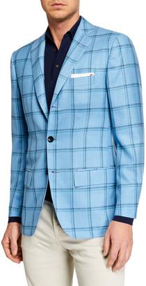 Kiton Men's Double Windowpane Sportcoat