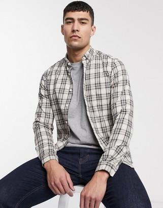 Asos DESIGN slim check shirt in ecru grid