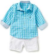 Nautica Baby Boys 12-24 Months Check Printed Long-Sleeve Woven Shirt & Solid Shorts Set