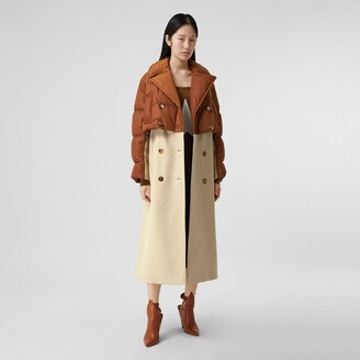 Burberry Puffer Jacket Detail Cotton Gabardine Trench Coat