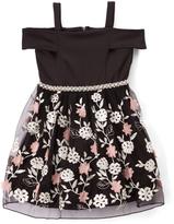Speechless Black Floral Off-Shoulder Dress - Girls