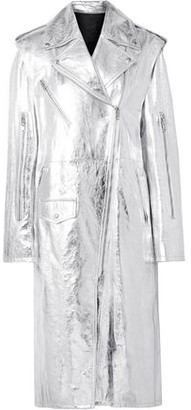 Calvin Klein Convertible Metallic Leather Trench Coat