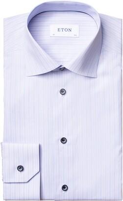 Eton Trim Fit Stripe Dress Shirt