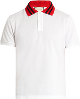 Gucci Knit-collar cotton-blend polo shirt