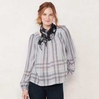Lauren Conrad Women's Shirred Peasant Top