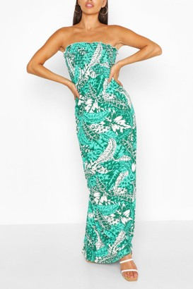 boohoo Petite Palm Print Tie Strap Maxi Dress