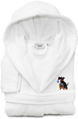 Linum Home Textiles Kids Scottie Dog Holiday Embroidered Hooded Bathrobe