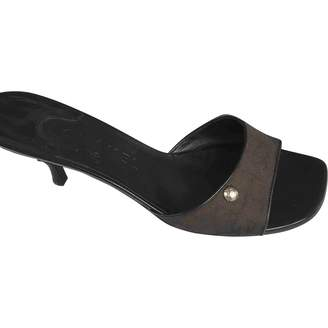 Chanel Brown Cloth Mules & Clogs