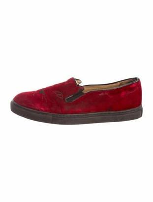 Charlotte Olympia Velvet Slip-On Sneakers Red