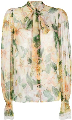 Dolce & Gabbana Camellia Print Foulard Blouse