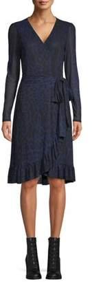 Scoop Printed Mesh Blouson Sleeve Wrap Dress Camo Print Women's