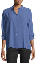 Eileen Fisher Long-Sleeve Button-Front Boxy Silk Blouse