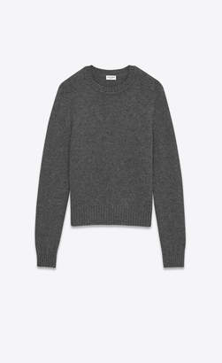Saint Laurent Tops And Blouses Drop Shoulder Crewneck Sweater In Anthracite Grey Camel Hair Anthracite L