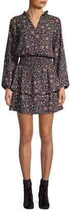 Design Lab Floral-Print Smocked Dress