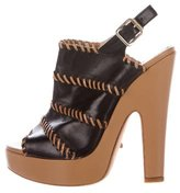 Jerome C. Rousseau Leather Platform Sandals