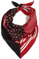 Burberry Stripe and polka-dot print silk scarf