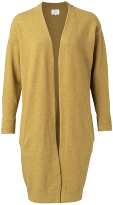 Ya-Ya Cotton Blend Cardigan with Side Pockets - Mustard Gold Melange - Small | mustard gold