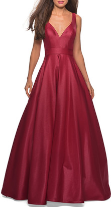 La Femme V-Neck Sleeveless Ball Gown