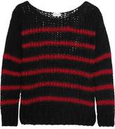 Saint Laurent Striped Open-knit Wool-blend Sweater - Black