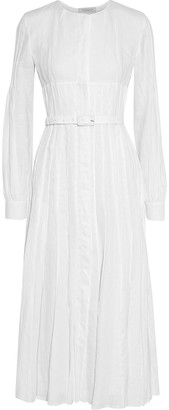 Gabriela Hearst Gertrude Belted Pintucked Linen Midi Dress