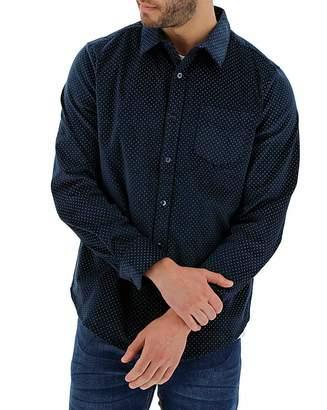 Jacamo Navy Print Long Sleeve Cord Shirt
