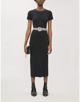The Kooples Faux crystal-embellished stretch-woven midi dress
