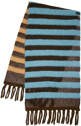 MONCLER GENIUS Striped Alpaca Blend Knit Maxi Scarf