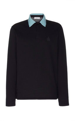 Lanvin Embroidered Two-Tone Cotton-Pique Polo Shirt