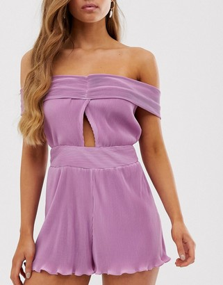 Collective The Label bandeau playsuit with knot front in lilac