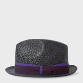 Paul Smith Men's Black Straw Trilby Hat