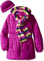 Pink Platinum Little Girls' Puffer Jacket with Stripe Lining and Accessories