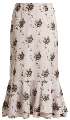 Brock Collection Orchidea Floral-printed Taffeta Midi Skirt - Ivory Multi