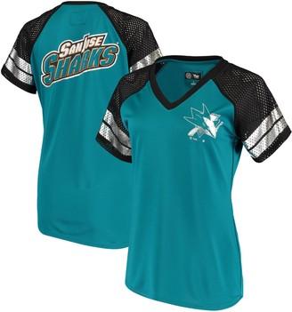 G Iii Women's G-III 4Her by Carl Banks Teal/Black San Jose Sharks Franchise Raglan V-Neck T-Shirt