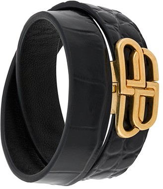 Balenciaga BB crocodile-effect double bracelet