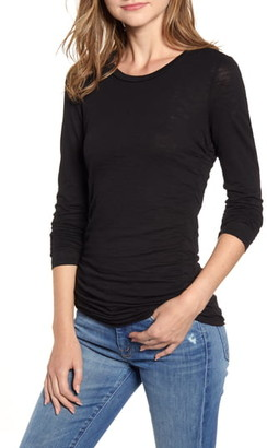 Stateside Side Ruched Long Sleeve Cotton Tee