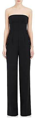 Alberta Ferretti Women's Stretch Virgin Wool-Blend Wide-Leg Tuxedo Jumpsuit - Black