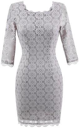 Mmondschein Women's Vintage Retro 3/4 Sleeve Floral Lace Penicl Party Mini Dress White Blue M