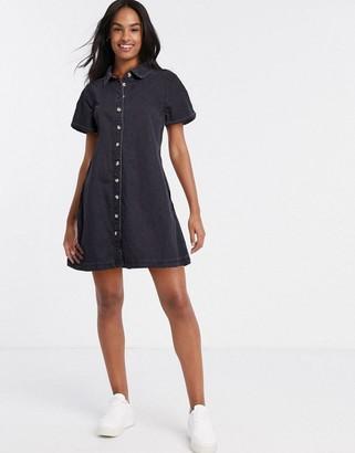 ASOS DESIGN soft denim smock shirt dress in washed black