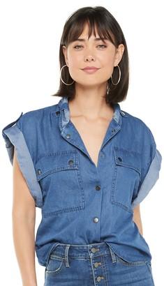 JLO by Jennifer Lopez Women's Chambray Utility Shirt