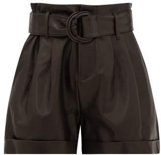 Frame High-rise Paperbag-waist Leather Shorts - Womens - Black