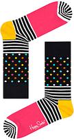 Happy Socks Stripe Dot Socks, One Size, Black/multi