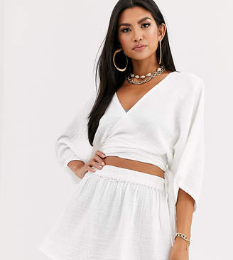 South Beach Exclusive beach wrap top and skirt two-piece in white