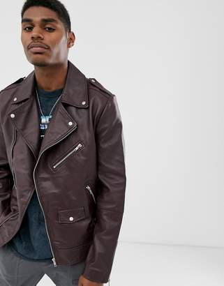 Asos Design DESIGN asymetric leather biker jacket in burgundy-Red