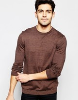 Asos Crew Neck Jumper In Brown Twist Cotton