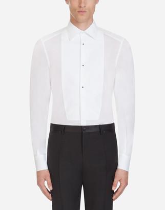 Dolce & Gabbana Gold Fit Tuxedo Shirt In Cotton Poplin