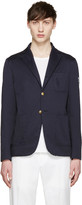 Moncler Gamme Bleu Navy Cotton Distressed Blazer
